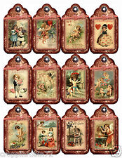 12 VALENTINE'S DAY/LOVE (19) SCRAPBOOK CARD EMBELLISHMENTS HANG TAGS