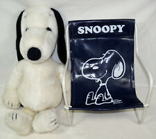 "1968 Schultz Peanuts Snoopy 18"" Plush Beagle w/ Collar & Vintage Sling Chair"