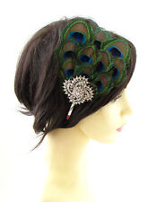 Silver Green Peacock Feather Fascinator Headpiece 1920s Headband Vintage 30s 880