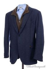 CANTARELLI Blue Woven CASHMERE Convertible Zip Out Lining Sport Coat Blazer 46 R