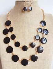 50's 60's vintage black Round Pendant Gold Plated Enamel Necklace Earrings