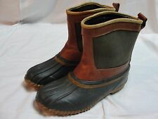 Vintage TIMBERLAND Rain Duck Ankle Boots shoes 8 Green Brown Leather Trim Rubber