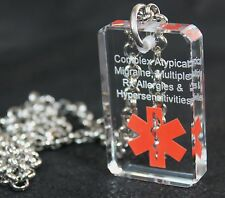 MEDICAL ALERT SAND BLASTED PERSONALIZE  CRYSTAL DOG TAG NECKLACE
