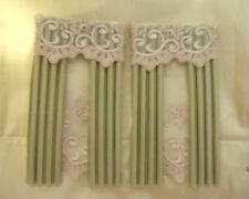 Dollhouse drape/curtains for two  windows silk satin green   1/12 th scale