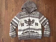 DOUBLE RL vtg RRL COWICHAN HANDKNIT HOODED EAGLE SWEATER/JACKET XL thunderbird