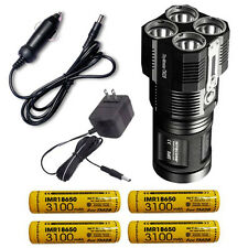 Nitecore TM28 Rechargeable Flashlight w/4x Nitecore 18650 +Car & Wall Adaptors