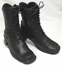 NAOT Israel Womens Size 7.5-8 (38) M Black Leather Zip/Tie Med-Heel Combat Boots