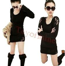 Lady Semi Sexy Sheer Embroidery Floral Lace Crochet Tee Top T Shirt