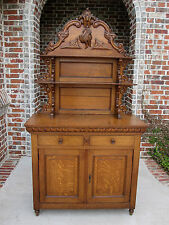 Antique French Tiger Oak Sideboard Plate Dresser Server Buffet Cabinet Pheasant
