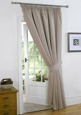 Beige 66'' x 84'' Supersoft Blackout Thermal Pencil Pleat  Door Curtain