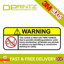 WARNING TWIN TURBOS Funny Car Window Bumper JDM VW Novelty Vinyl Decal Sticker