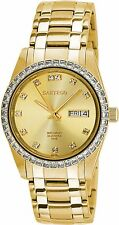 NEW Sartego SGGD24 Men's Swarovski Crystal Automatic Gold Sunray Dial Gold Watch