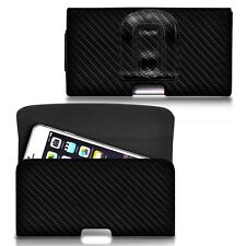 For ZTE Warp 7 - Horizontal Carbon Fibre Belt Pouch Holster Case