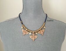 J. Crew Factory Triangle Cord Stone Necklace NWT AUTHENTIC With Pouch