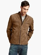 LUCKY BRAND Bonneville Racer Mens Suede Motorcycle Jacket Cafe Racer Size Large