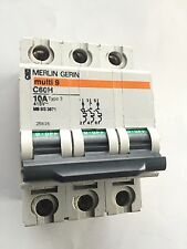 MERLIN GERIN C60H 10 AMP TYPE 2 TRIPLE 3 POLE M9 415V MCB CIRCUIT BREAKER 25616