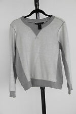 MARC BY MARC JACOBS Silver Metallic Cotton Crew Neck Sweater Sz M