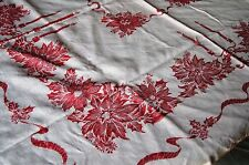 "Vintage Christmas Red White Poinsettia  Candle Square Linen Tablecloth 46"" X 46"""