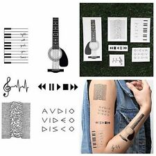 MUSIC INSPIRED NOTES GUITAR PIANO PLAY STOP TEMPORARY TATTOO DIY MEN (SET OF 12)