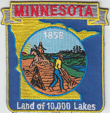 Minnesota MN map patch 1858 LAND OF 10,000 LAKES/state seal