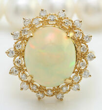 7.75 CTW Natural Ethiopian Opal and Diamonds in 14K Solid Yellow Gold Women Ring