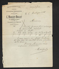 """LADON (45) EPICERIE MERCERIE FAIENCE ARTISTIQUE de GIEN """"MORIZET & BOCLET"""" 1924"""