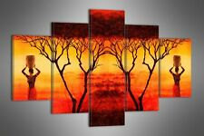 """LARGE AFRICA  ABSTRACT CANVAS WALL PICTURE SPLIT 5 PANELS FLASH ART 40"""" 28"""" 1538"""