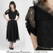 Vintage 50s Sheer Black Dress Pinup Floral Lace Tulle Tiered Cocktail Party Maxi