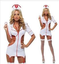 Sexy Lingerie Nurse Costume Adult Women Halloween Outfit Fancy Dress 5Pcs Set