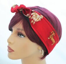 New Red DOGS  Hair Tie Wrap Headband Scarf Pinup Rockabilly Poodle Dachshund