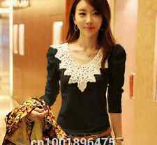 Women Lace Floral Round Neck Black Long Sleeve T-Shirt OL Slim Tops QL