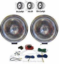 """X2 Pair 9"""" Clear White Spot Fog Light Lamp LED Ring 12v 55w H3 Bulbs + Wiring Ki"""