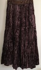 BCBG Max Azria Skirt Velvet Full Lenght Modesty Beaded Dark Brown Size XS