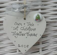 FIRST/1st CHRISTMAS TREE DECORATION 8cm personalised Together Forever