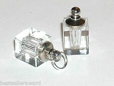 1 CLEAR ** CUBE Perfume vial small little tiny facet pendant bottle w/SCREW CAP
