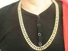 "30""L 14mmW Chain 18K Gold Plated No Stone Necklace & Box, Men Birthday Xmas Gift"