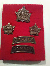 WW1 Canadian Army General Service Cap, Collar and Shoulder Badge Set Matching