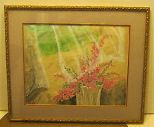 Wonderful Watercolor Still Life w FLOWERS & Lace Curtains SIGNED Lilli Sillaway
