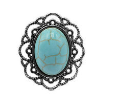 New Arrival Fashion Silver Plated Carving Flower Turquoise Charm Ring Adjustable