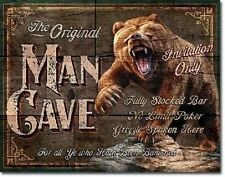 Man Cave Original Grizzly Bear Hunt Cabin Garage Wall Art Decor Metal Tin Sign