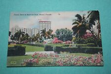 Vintage Postcard Flower Beds In Bayfront Park, Miami, Florida