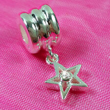 Genuine 925 Solid Sterling Silver Star White Stone Charm Bead European Bracelet
