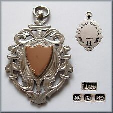 1898 Antique Victorian solid silver and gold fob medal for a pocket watch chain