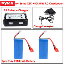 7.4V 2500mAh 25C Lipo Battery+2S 2in1 Balance Charger For Syma X8C X8W X8G X8HG