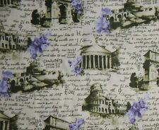 cotton quilt fabric Passport travel green floral purple Rome Paris 1 yd Italy