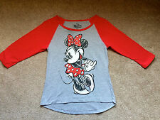 Disney Minnie Mouse Distressed Raglan Baseball Tee Red Gray Juniors S 3 5