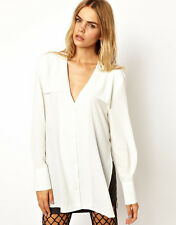 BACK BY ANN-SOFIE BACK Ivory/white Yoke Collar Blouse Top 12 $300