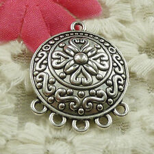 #4630 free ship 27pcs Antique silver round flower earring connectors 29x23mm