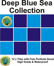 "4"" Tile stickers decal Deep Blue sea  collection 12 + Free Printed transfer"