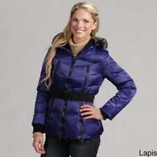 Miss Sixty Women's Zipped- Faux-fur Hooded -Belted Down Coat Parka -Blue-Small